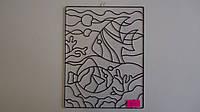 """Пластиковая основа-рамка з контурами для создания Витражной картины  """"Рыбки.Аквариум"""".Amos class deko.Набор дл"""