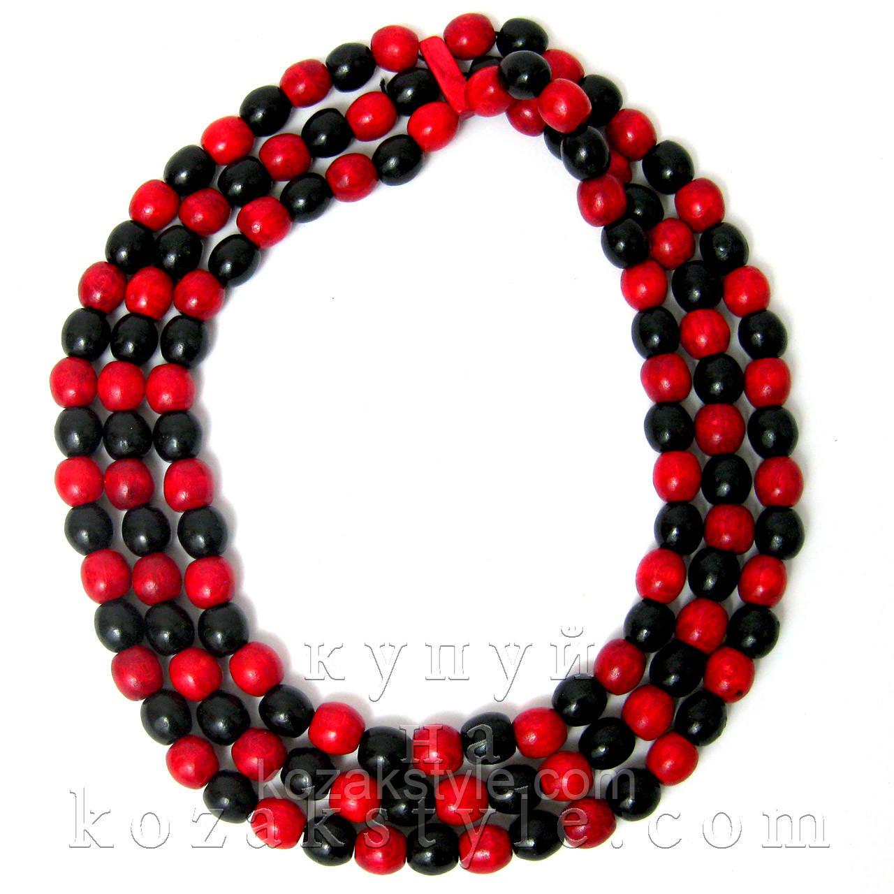 Намисто потрійне (червоно-чорне)  продажа db03772d22a85
