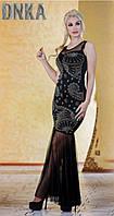 Шикарное комбинированное вечернее платье с длинной фатиновой юбкой годе дайвинг клепка