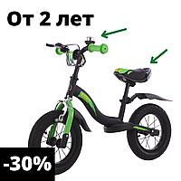 Детский беговел велобег для мальчика от 2 до 5 лет 12 дюймов зеленый детские беговелы велик без педалей