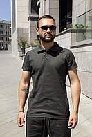 Футболка поло мужская стильная качественная модная хаки без логотипа