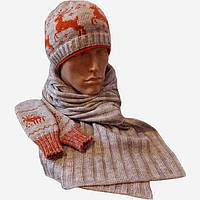 Вязаная шапка, вязаный шарф-петля и  варежки c норвежскими орнаментами