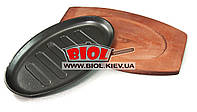 Сковородка чугунная порционная овальная 27*16,5см на деревянной подставке Empire EM-9933