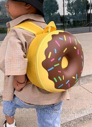 Рюкзак детский каркасный в форме Пончика круглый маленький дошкольный