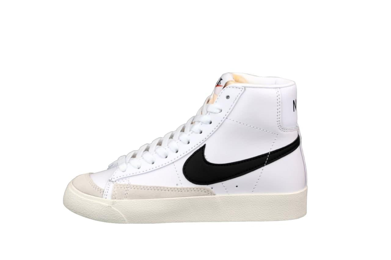 Женские кроссовки Nike Blazer (Белые с черным) молодежная высокая обувь К12595