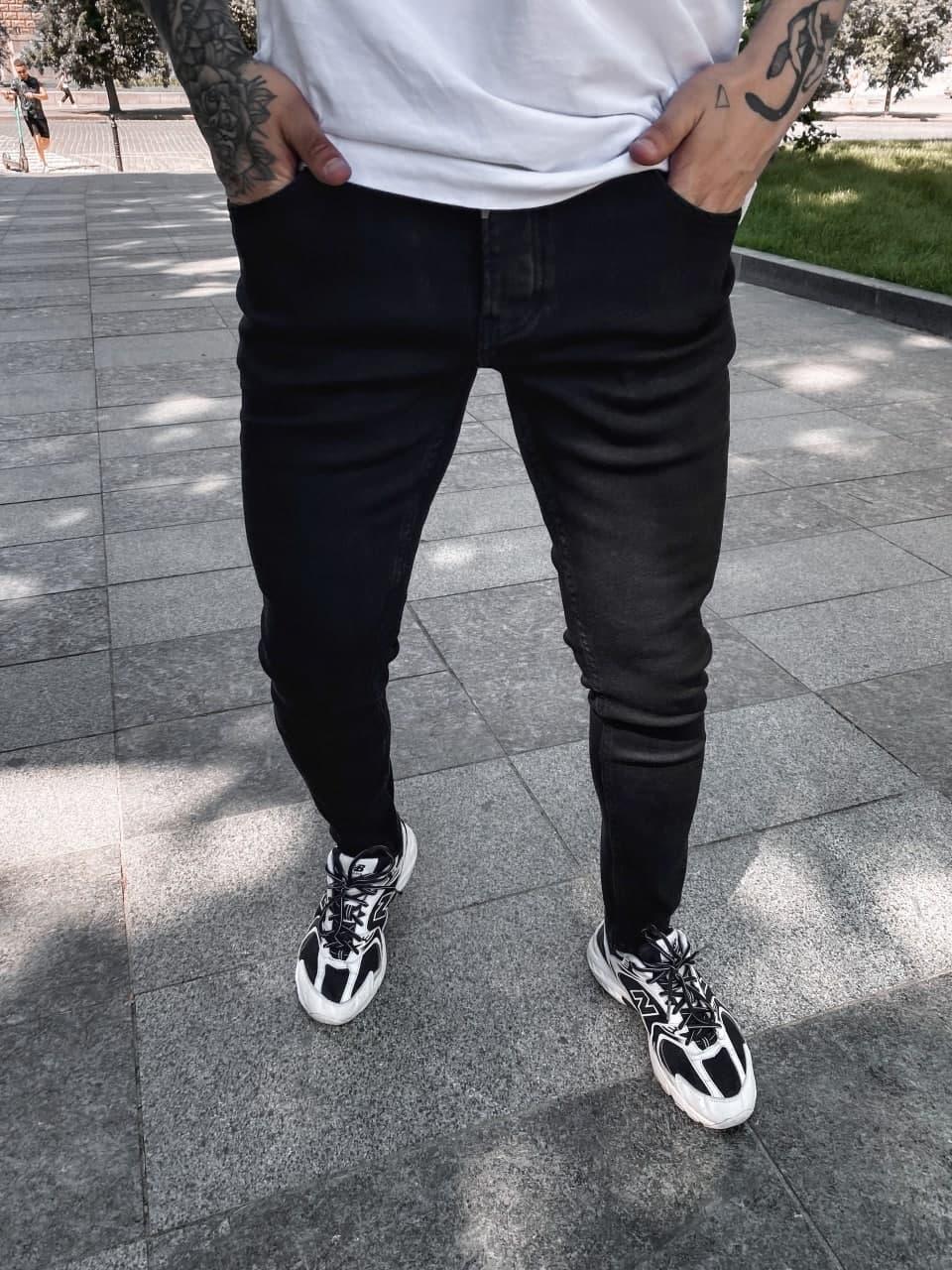 Мужские джинсы зауженные (черные) молодежные дырявые штаны si0101-1