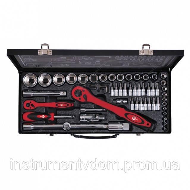 """Профессиональный набор инструмента INTERTOOL ЕТ-6056 (56 ед., 1/2"""" & 1/4"""", гол. 4-32 мм, биты 18 ед.)"""