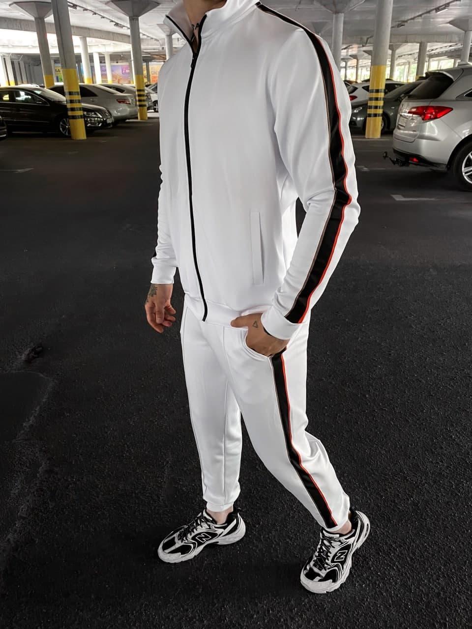 Чоловічий спортивний костюм (білі) soc72 крутий з червоними лампасами