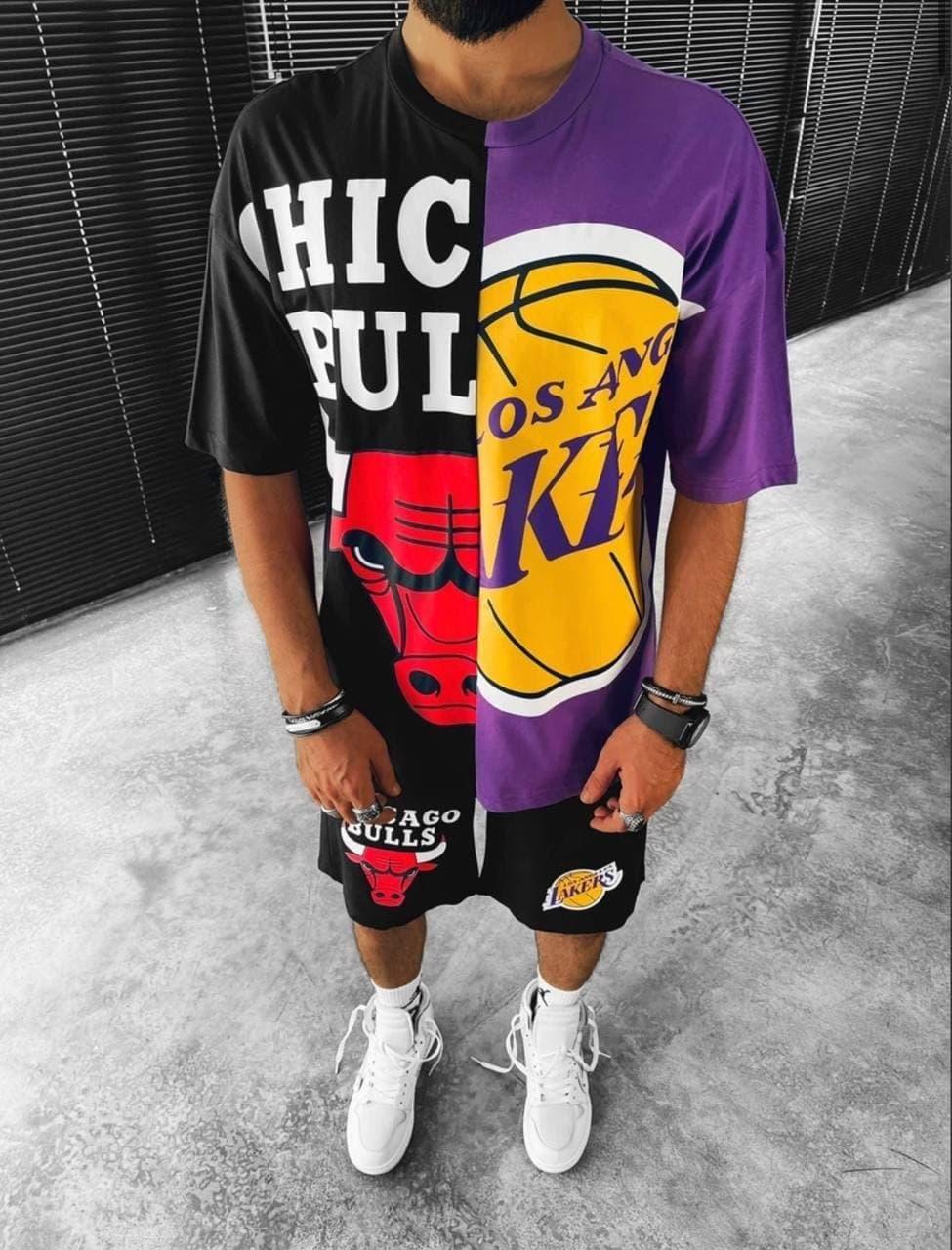 Чоловічий комплект шорти + футболка Chicago bulls і Lakers (чорно-фіолетовий) крутий костюм sk43