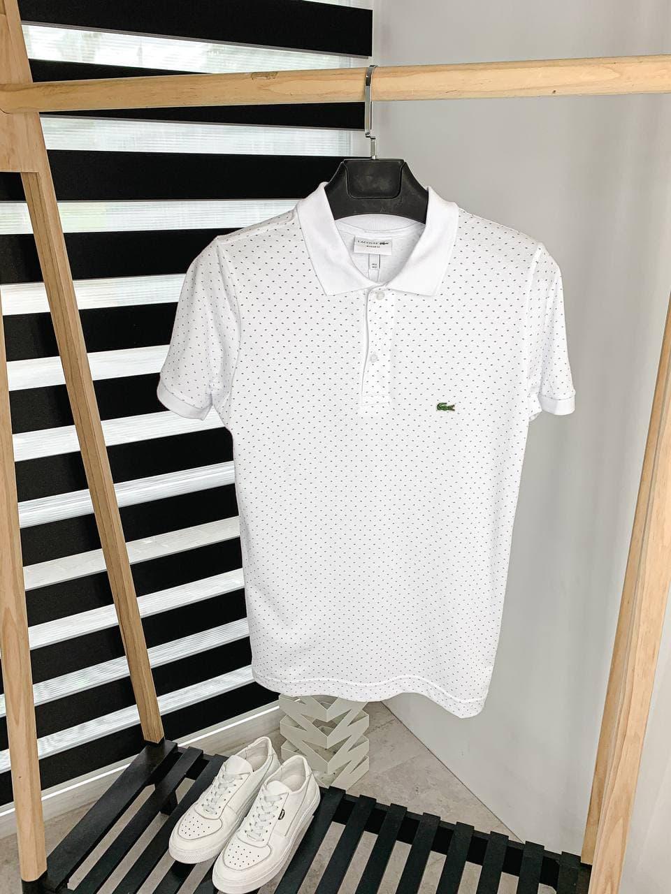 Чоловіча футболка поло (біла) класичний одяг річна в точку А449