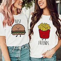 """Комплект футболок з накаткою """"Best Friends"""". Білий колір. (Роздріб)."""