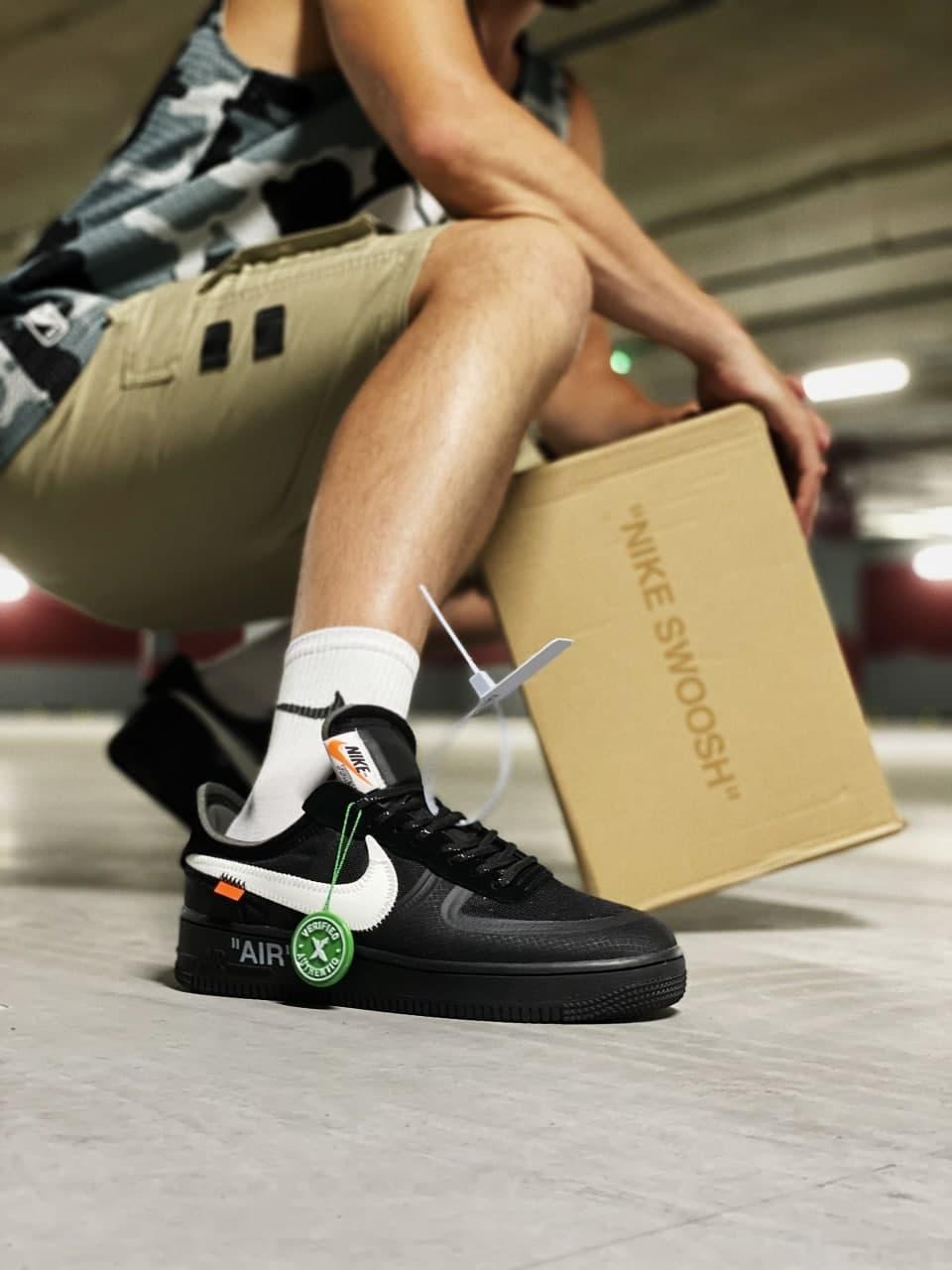 Чоловічі кросівки OFF-WHITE x Nike Air Force 1 Low (чорні) якісна стильне взуття J3103