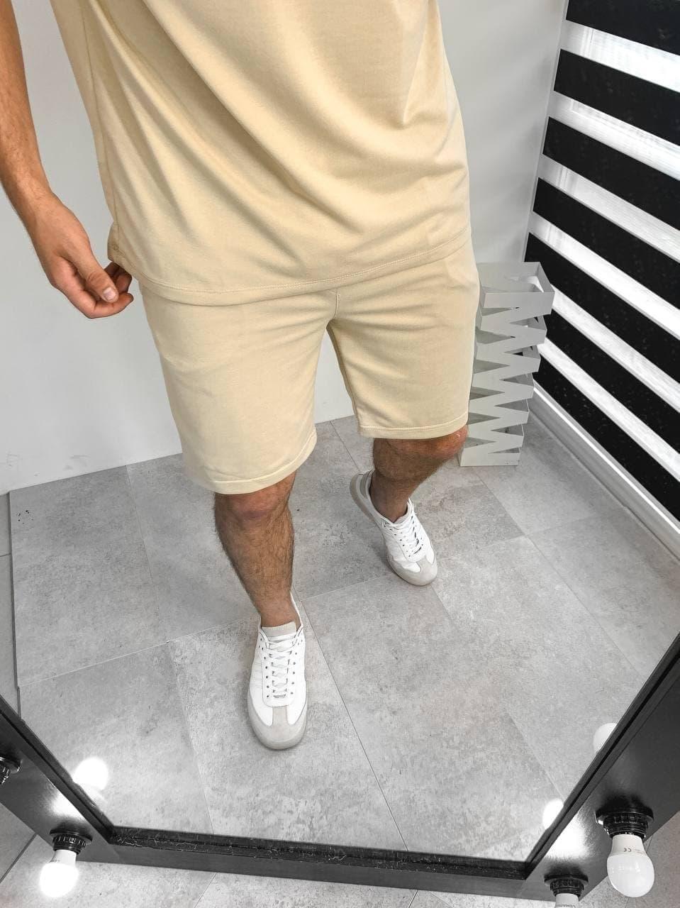 Чоловічий комплект шорти + футболка (бежевий) однотонний модний костюм A3119