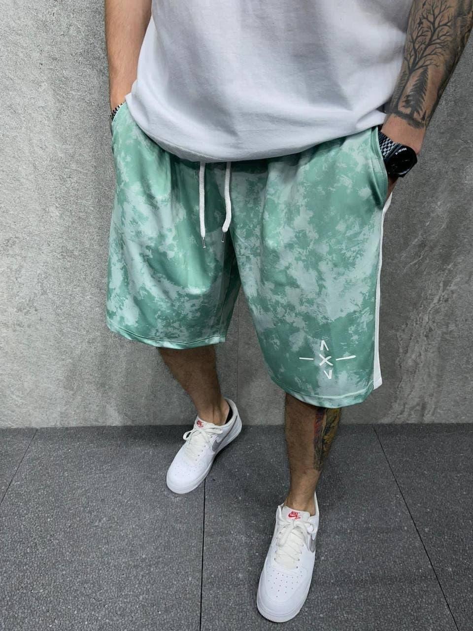 Чоловічі шорти з лампасами (зелені) вільного крою модні AD.P.2029