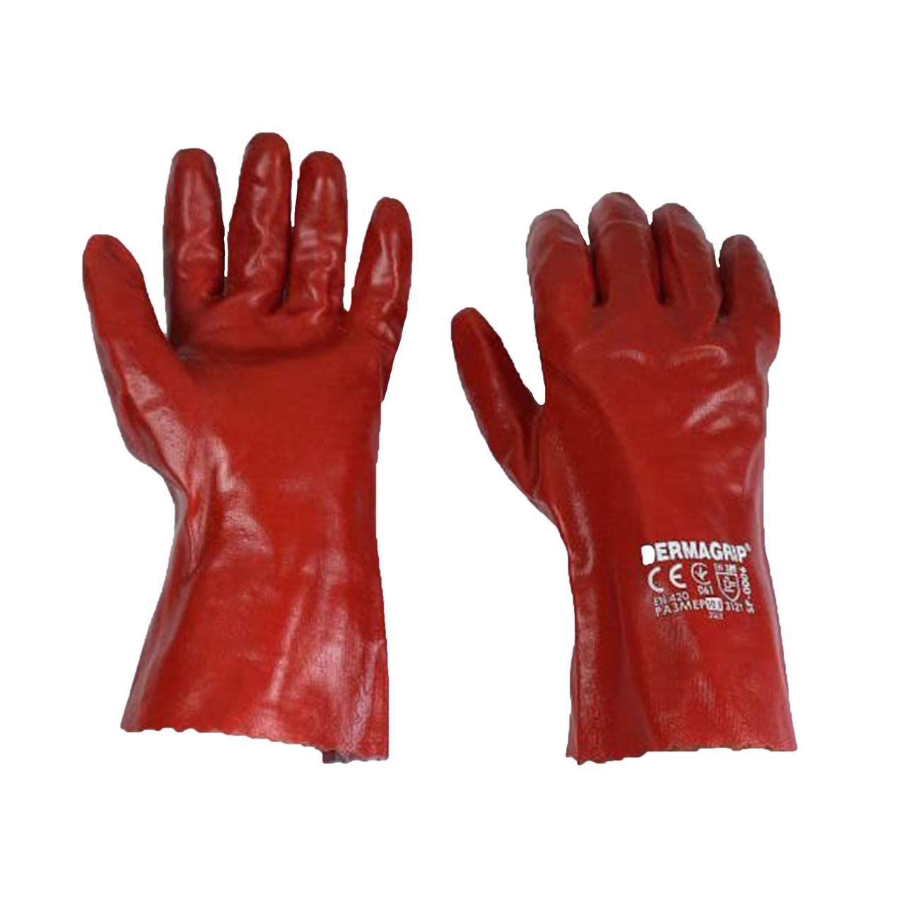 Перчатки маслобензостойкие длинные, нитриловый облив, уп. — 12 пар