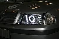 """Skoda Octavia Tour - установка биксеноновых линз Moonlight G6/Q5 3,0"""" (⌀76мм) D2S H4 и LED ангельских глазок, фото 1"""