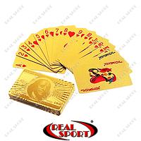 Карты игральные пластиковые золотые 1 колода IG-4566-G GOLD 100 DOLLAR (54 листа, толщ.-0,28 мм)