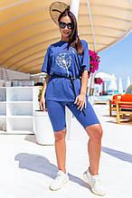 Жіночий костюм батал, бавовна-спів, р-р універсальний 48-54 (синій)