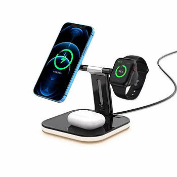 Бездротова зарядка док-станція 3 в 1 MagSafe Wireless Charger Dock Station 25W для телефону iPhone чорна