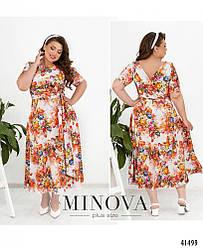 Платье-миди на запах с короткими рукавами большого размера. размер: 50, 52, 54, 56