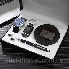 Чоловічий подарунковий набір: ремінь, ручка, брелок, годинник, запонки M975