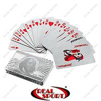 Карты игральные пластиковые 1 колода IG-4566-S SILVER 100 DOLLAR (54 листа, толщ.-0,28 мм)