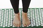 ОПТ Акупунктурний масажний килимок з валиком - подушкою для масажу спини і ніг osport з бавовни зелений, фото 5