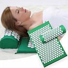 ОПТ Акупунктурний масажний килимок з валиком - подушкою для масажу спини і ніг osport з бавовни зелений, фото 6