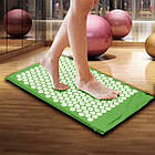 ОПТ Акупунктурний масажний килимок з валиком - подушкою для масажу спини і ніг osport з бавовни зелений, фото 8