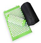 ОПТ Акупунктурний масажний килимок з валиком - подушкою для масажу спини і ніг osport з бавовни зелений, фото 9