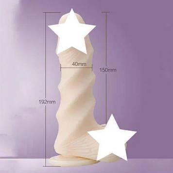 Фаллоимитатор с присоской Leten Super Muscle Large, диаметр 4см, ТПЕ, нежный на ощупь, рельефный Bomba💣
