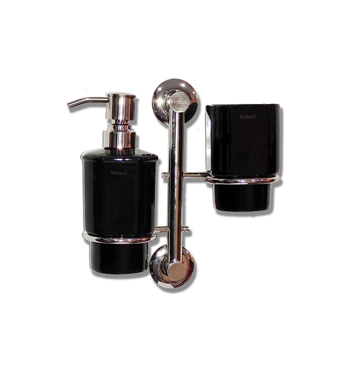 Комплект вертикальний (дозатор+підсклянник) чорний глянець Vernandi ПК-8203