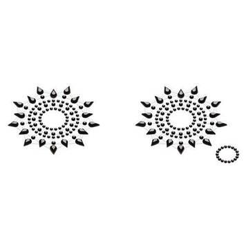 Пэстис из кристаллов Petits Joujoux Gloria set of 2 - Black, украшение на грудь Bomba💣