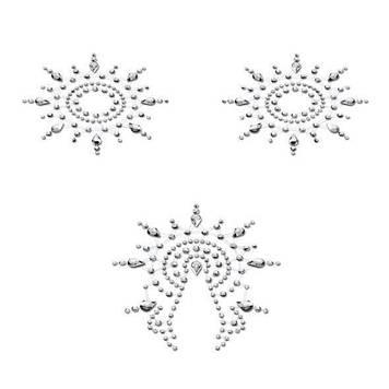 Пэстис из кристаллов Petits Joujoux Gloria set of 3 - Silver, украшение на грудь и вульву Bomba💣