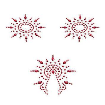 Пэстис из кристаллов Petits Joujoux Gloria set of 3 - Red, украшение на грудь и вульву Bomba💣