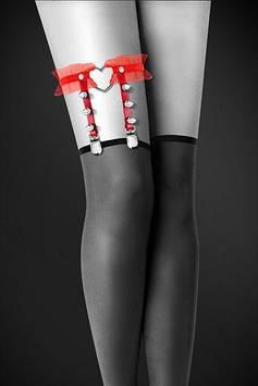 Гартер на ногу Bijoux Pour Toi - WITH HEART AND SPIKES Red, сексуальная подвязка с сердечком Bomba💣