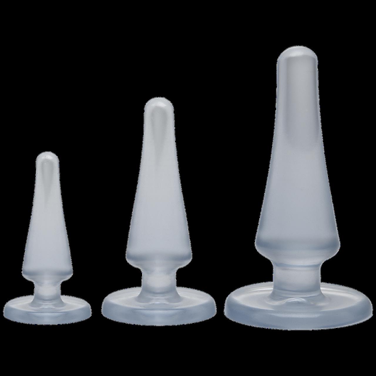 Набір анальних пробок Doc Johnson Crystal Jellies Anal - Clear, макс. діаметр 2см - 3см - 4см     18+