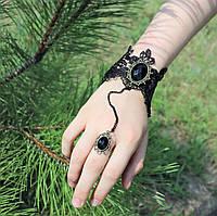 Кружевной слейв-браслет на руку Через кольцо Винтаж бронза №19