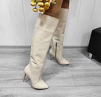 Женские кожаные сапоги на шпильке молочного цвета, фото 1