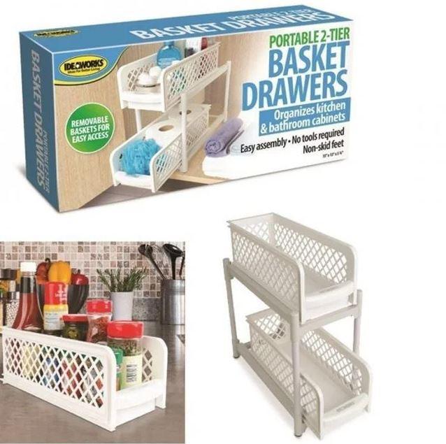 Органайзер для ванной Portable 2 Tier Basket Drawers полка для кухни