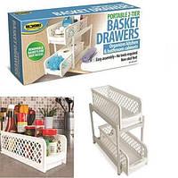 Органайзер для ванной Portable 2 Tier Basket Drawers полка для кухни, фото 1