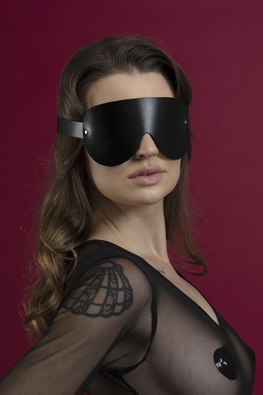 Маска на глаза Feral Feelings - Blindfold Mask, натуральная кожа, черная Bomba💣