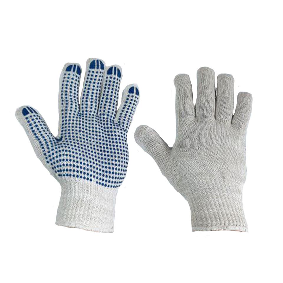 Перчатки рабочие белые трикотажные с ПВХ точкой