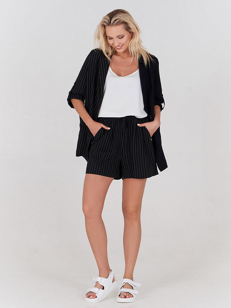 Жіночі шорти льняні чорні в смужку літні Дует SOLH MKSH2680