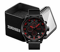 Наручные мужские классические мужские часы Skmei 1309 черно-красные