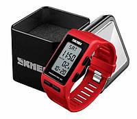 Наручний жіночий спортивний годинник Skmei 1363 з крокоміром і хронографом червоний, фото 1
