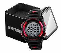Наручные детские электронные часы Skmei 1266 c будильником и хронографом черно-красные