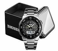 Наручний чоловічий спортивний чоловічий кварцовий годинник Skmei 1370 в чорному корпусі, фото 1
