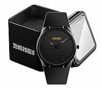 Наручные мужские стильные ультратонкие часы Skmei 1601 с черным циферблатом, фото 1