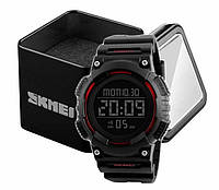 Наручний чоловічий спортивний електронний годинник Skmei 1248 з червоними вставками